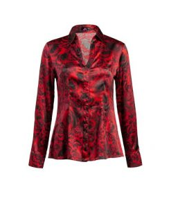 stylish red silk blouse