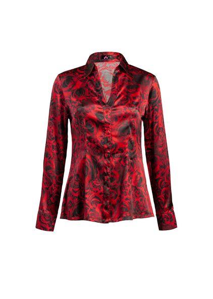 stylish red silk blouse
