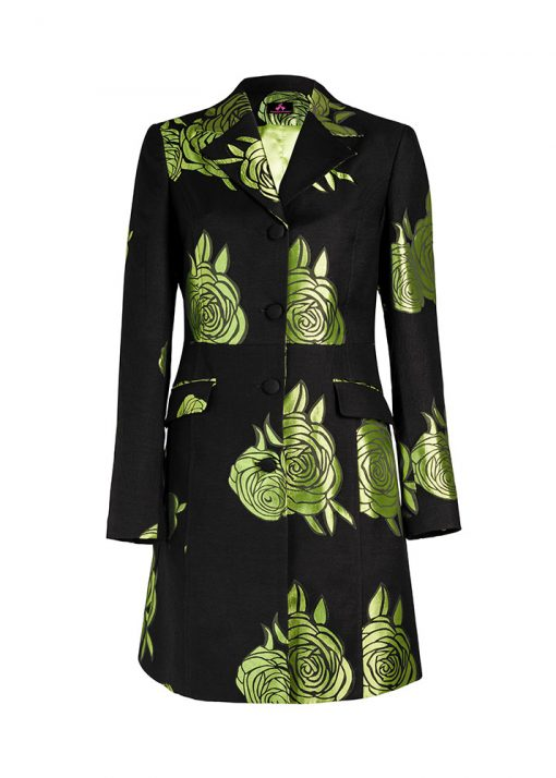 unique floral green coat