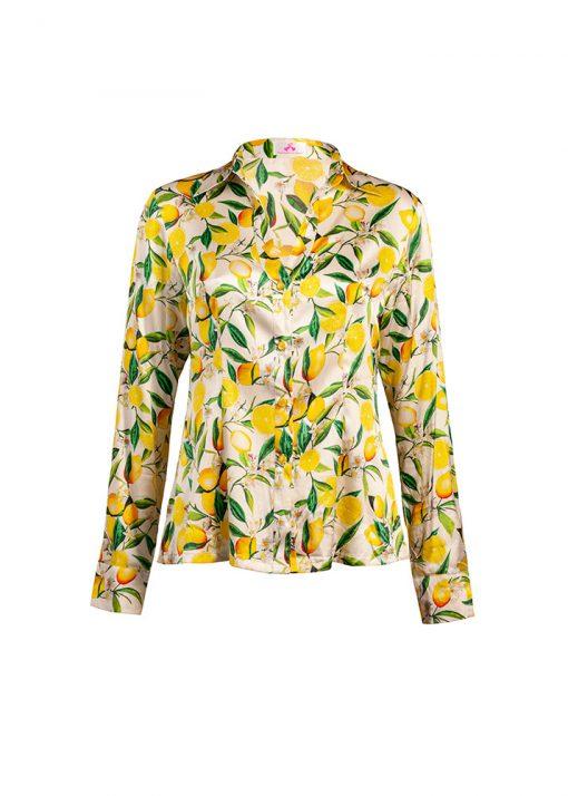 stylish yellow silk blouse